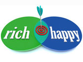 Rich Happy Venn Diagram Success Goal of Wealth — Stock Photo