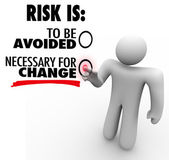Risk is to Be Avoided or Necessary for Change Man Chooses Button — Stock Photo
