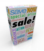 Sale Product Box Words Discount Save Money Package — Stock Photo