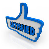 Satisfied Word on Blue Thumb Pleased Thumbs Up — Stock Photo