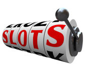 Slots Word Casino Slot Machine Wheels Handle — Stockfoto