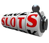 """slots"" woord casino slotmachine wielen handvat — Stockfoto"