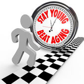 Stay Young Beat Aging Race Against Time Clock — Zdjęcie stockowe