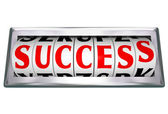 Success Word Wheels Slots Odometer Tracking Successful Goal — Stock Photo