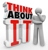 Think About It Thinker Person Standing By Words — 图库照片