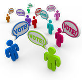 Vote Speech Bubble Different Choices — Stock Photo