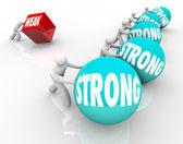 Silný vs slabé konkurenční slabost proti síle — Stock fotografie