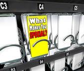 O que te faz especial uma escolha única máquina — Foto Stock