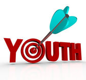 Youth Word Arrow in Target Stay Young Stop Aging — Stock Photo