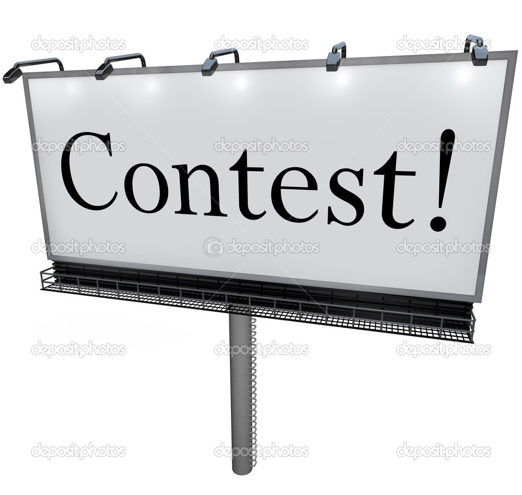 contest word on billboard raffle drawing lottery stock photo the word contest on a huge outdoord billboard sign or banner to advertise a raffle drawing or lottery that promises big prizes jackpot or payout to the