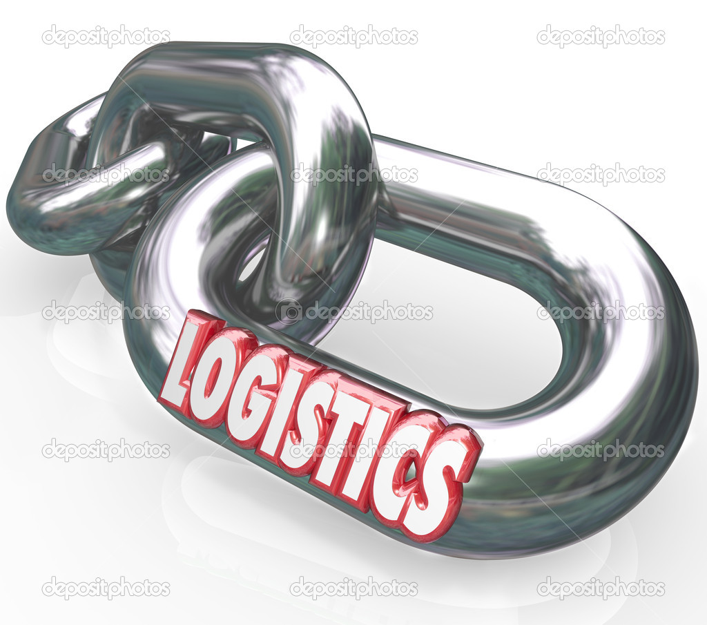 The word Logistics on a metal chain link connected to other chains and links to form an organized and coordinated system of working together  Stock Photo #11836058