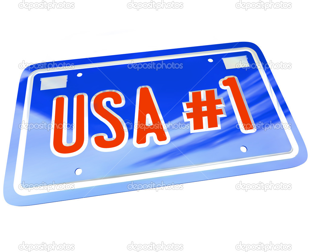 A vanity license plate in red white and blue with the letters and words USA Number One with number 1 to show patriotism and national pride in United States of America — Stock Photo #11836226
