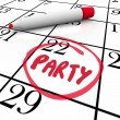 Party Word Circled Calendar Day Word Reminder — 图库照片