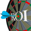 ROI Return on Investment Dartboard Targeting Wealth - Stock Photo