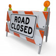 Road Closed Barricade Construction Warning Sign — Stock Photo