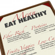 Eat Healthy Menu Smart Food Choices Protein Fiber Low-Fat — Stock Photo