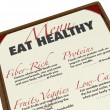 Eat Healthy Menu Smart Food Choices Protein Fiber Low-Fat - Стоковая фотография