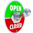 Open Vs Closed Toggle Switch Opening Store Business — Stock Photo