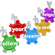 Follow Your Dreams to New Heights Climbing Gears - Foto Stock