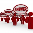 Answer Crowd Speech Bubbles Sharing Answers — Stock Photo