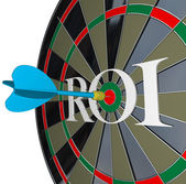ROI Return on Investment Dartboard Targeting Wealth — Stock Photo