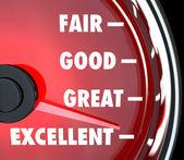 Good Great Excellent Speedometer Improvement — Stock Photo