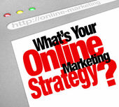 What's Your Online Marketing Strategy Website Screen Plan — Stock Photo