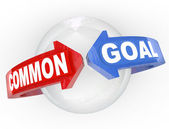 Common Goal Two Arrows Meet Around Sphere Mutual Interest — Stock Photo