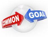 Common Goal Two Arrows Meet Around Sphere Mutual Interest — Stock Photo