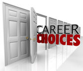 Career Choices Words Many Doors Opportunities Jobs — Стоковое фото