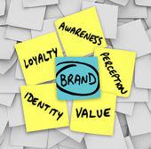 Marca notas adhesivas palabras lealtad de identidad de percepción — Foto de Stock