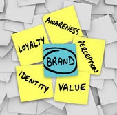 Merk woorden kleverige nota's perceptie identiteit loyaliteit — Stockfoto