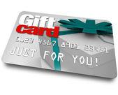 Geschenkenkaart koopwaar kunststof credit gratis winkelen — Stockfoto
