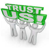 Confíe en nosotros el equipo de elevación palabras promesa garantía — Foto de Stock