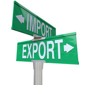 Import Export International Trade Two-Way Street Sign — Stock Photo
