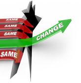 Verandering pijl stijgt past vs dezelfde pijlen mislukking — Stockfoto