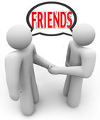 Friends Two Shaking Hands Friendly Meeting — Stock Photo