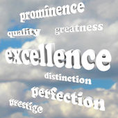 Excellence Greatness Quality Words in Cloudy Blue Sky — Stock Photo