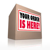Your Order is Here Cardboard Box Package Delivery — Stock Photo