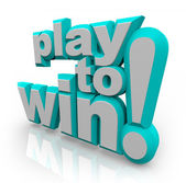 Play to Win 3D Words Determination Positive Attitude — Stock Photo