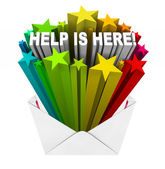 Help is Here Envelope Open Relief Support Assistance — Stock Photo