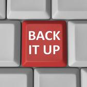 Back It Up Red Computer Keyboard Key Backup — Stock Photo