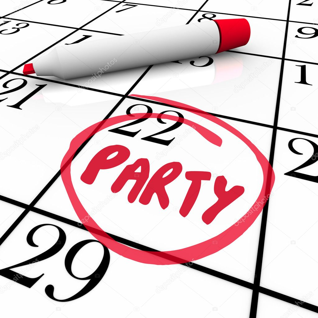 The word Party written on a calendar and circled to remind you of the day and date of a special celebration or event — Stock Photo #12210027