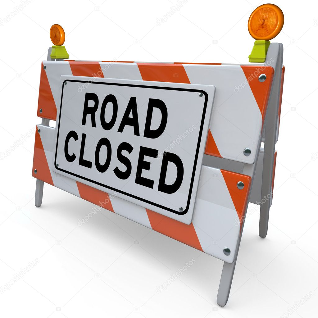 The word Road Closed on a barricade or barrier sign placed at a street or intersection to alert you to construction work — Stock Photo #12210034