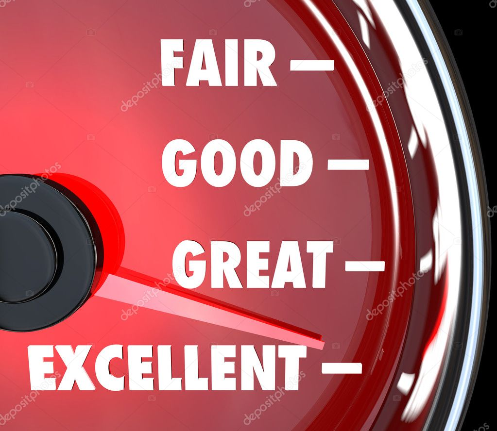 A red speedometer with needle rising past words Fair, Good, Great and Excellent to symbolize improvement and success  Stock Photo #12210048
