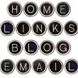 Vintage Blog, Home, Links and Email Keys — Foto Stock