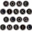Vintage Blog, Home, Links and Email Keys — Stock Photo