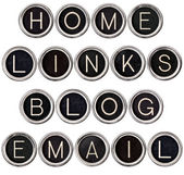 Vintage Blog, Home, Links and Email Keys — 图库照片
