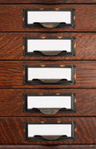 Old Flat File Drawers With Blank Labels — Foto de Stock