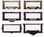 Anciens cadres de tiroir de fichier avec étiquettes vierges — Photo